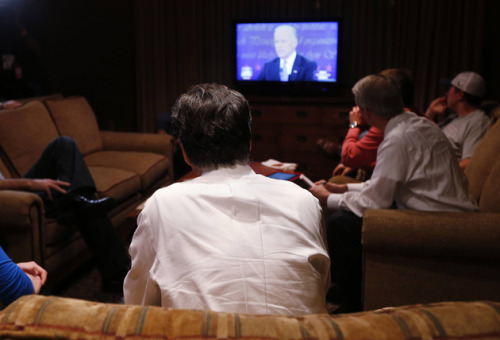 Mitt Romney, watching the VP tonight in his hotel room in North Carolina (Shannon Stapleton/Reuters)