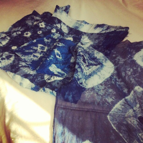 From my first batch of shibori pieces dyed with indigo.