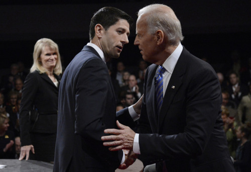 Paul Ryan and Joe Biden, after the VP debate (Pool via Getty Images)