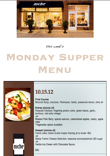 This Week's Monday Supper Menu!