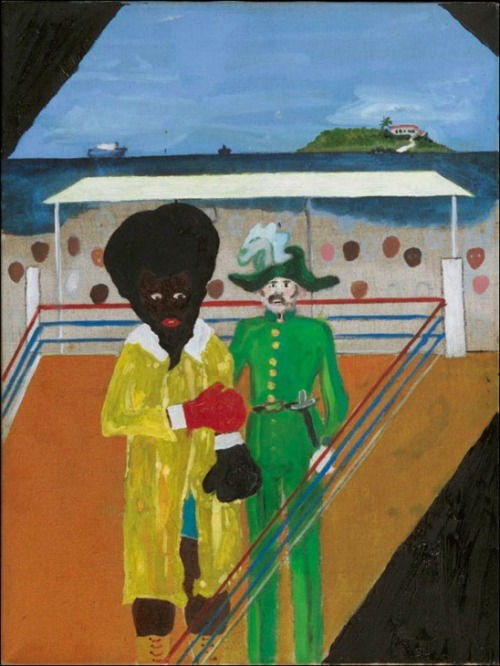 "Untitled, Peter Doig and Chris Ofili, 2000 Oil on canvas. 16 1/4"" x 12"""