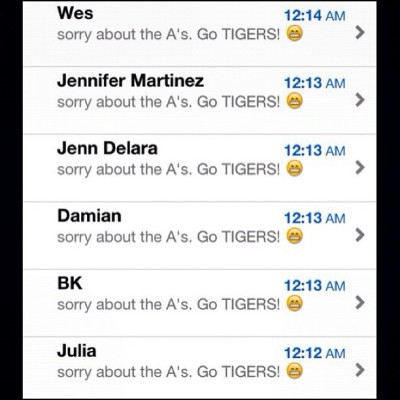 sent my Bay Area folks my condolences. lol #GOTIGERS #DETROIT #MLBPlayoffs (Taken with Instagram)