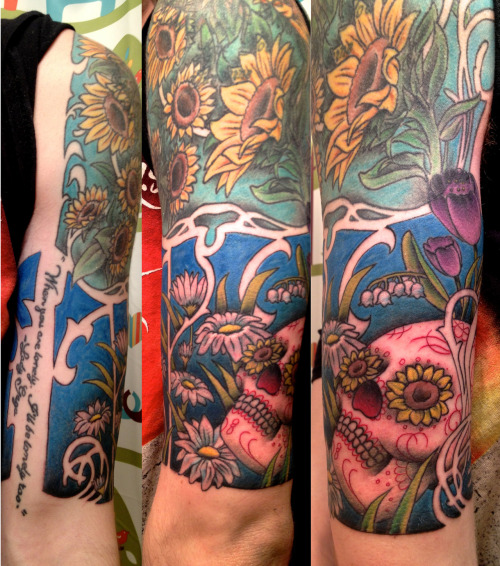 fuckyeahtattoos:  The entire half sleeve was done by Matt Broines at Old Town Tatu in Chicago IL. The whole meaning is the transitions through seasons. Spring-Summer. The full sleeve will continue on into Fall/Winter.