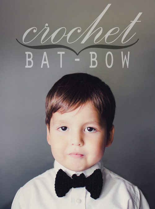 DIY Crochet Bat Bow Tie Tutorial and Free Pattern from Good Knits here. At the link you can see more photos where the bat's little ears are sticking out. If can't crochet you could always make the really easy DIY Felt Bat Bow Tie here (and reader tracerracerx's version here).