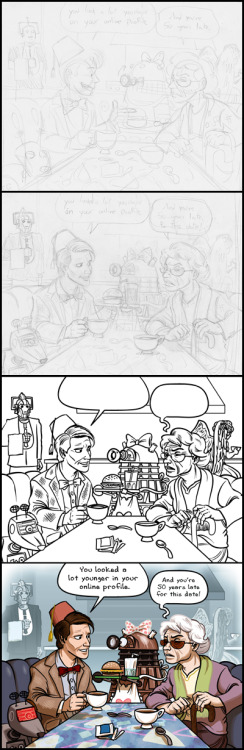 adobsonart:  The process of a recent Doctor Who inspired brentalfloss strip from initial rough sketch, to a more detailed sketch, to the illustrator lineart, to the finished photoshop colored image.