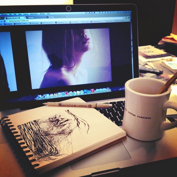 This weather is making me sketch and drink tea. #art  (Taken with Instagram)