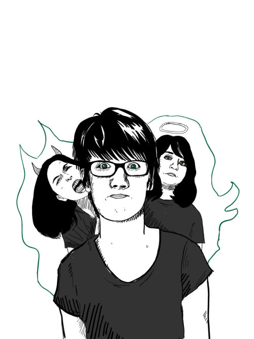 oh look another self portrait  michael is my shoulder demon :D