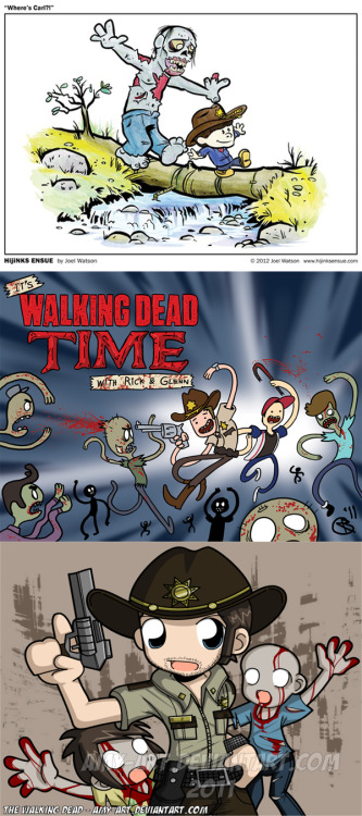 Fandom Fan Art: The Walking Dead Mashups In case you were wondering if there are cute ones…oh yeah. There are cute ones.