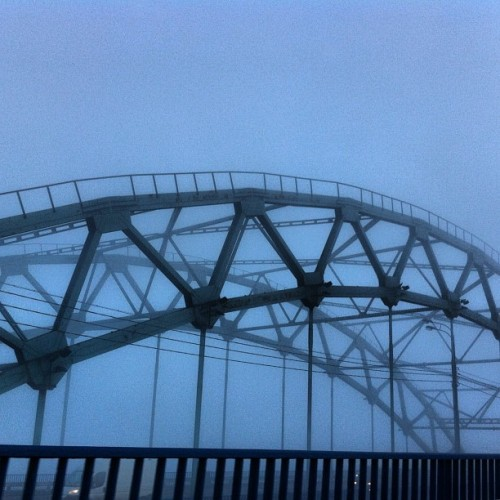 Photo of #morning #fog no man #metal #bridge on the #Ring #Road in #Moscow. #architectural #design #edge (Taken with Instagram at Москва Река)