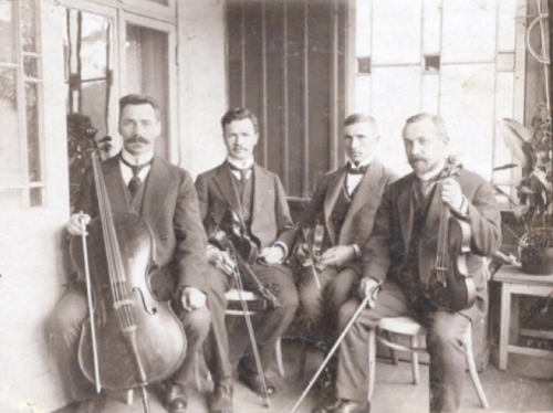 zolotoivek:  Members of a string quartet, Latvia, 1900-10's.