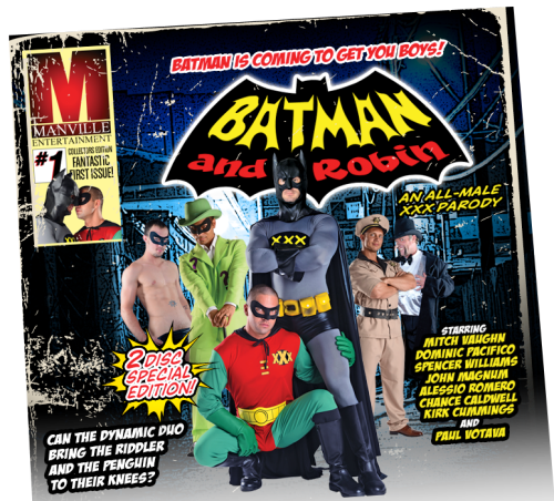 cultandtrash:  Batman and Robin… A gay parody.  Shouldn't this be Buttman and Rubbin?