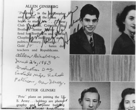 """Allen's highshchool yearbook page with classmates inscriptions. June 1943""  ""hates dull teachers and Republicans."""