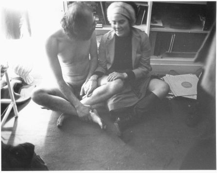 """Ginsberg with Barbara Rubin, Allen's 39th birthday party, Barry Miles' apartment, London, June 3, 1965. Miles had organised the party, since Allen was staying at his place already. As the story goes John Lennon and George Harrison stopped by round midnight to find a naked Ginsberg with a do-not-disturb sign tied to his penis."""