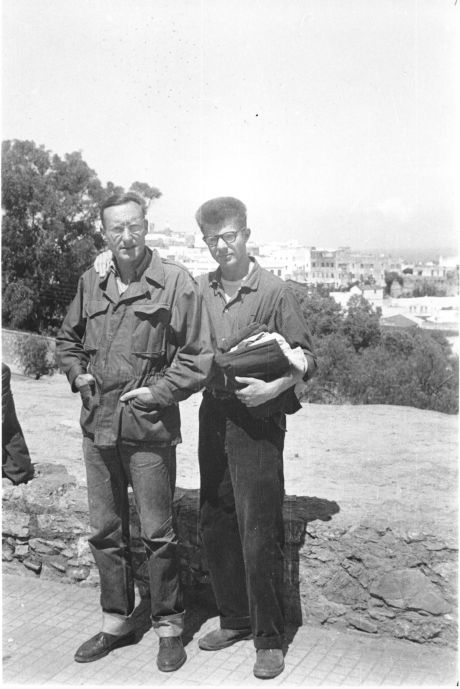 William Burroughs & Peter Orlovsky, Tangier, Morocco, Spring 1957.  c. Allen Ginsberg Estate.