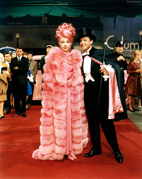 darklamb:  thisisnodream:  Shirley MacLaine and Gene Kelly in What a Way to Go!, 1964.  Allll the pink fur.