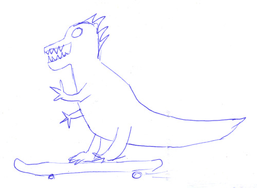 Dinosaur riding a skate board. Turns out that's my kinda thing. twofrench:  Tyrant got moved again today. But he's still sitting at Thornbury Records… for now. Get in quick to check him out before he flees again.