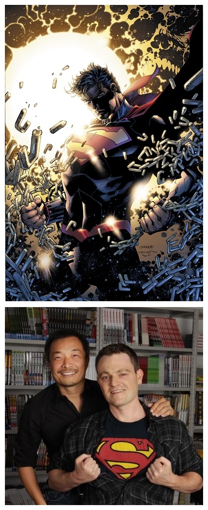 "Scott Snyder and Jim Lee on Man of Steel Squuuuuuueeeee! Ahem, carry on. ""As a huge fan of Scott's writing, I'm looking forward to drawing Superman as much as I am reading Scott's story as it unfolds,"" Lee said. ""Scott's crafted a truly epic yet personal story which will demonstrate without a doubt why Superman remains the most iconic hero of the modern age. 2013 is gonna absolutely rock!"" ""I've loved Superman since I was a kid, and to be working on him now, with the great Jim Lee, is simply too thrilling for words. It's a dream come true for me on every front,"" Snyder said. ""I don't want to give too much away, so I'll just say it's the Superman story I'd write if I only ever got one chance to write the character. It's an exploration of everything I love and am fascinated by about him. Like Court of Owls for Batman, it's a character piece for Clark - it's going to challenge him to his core. And it's definitely epic in scope, with huge action and drama - the biggest and most earth shaking action I've ever done. Can't wait to see what you all think of it. Couldn't be more grateful or excited to get the chance to make this one!"" Read article by clicking on link. http://www.dccomics.com/blog/2012/10/11/jim-lee-and-scott-snyder-team-up-for-2013-superman-project"