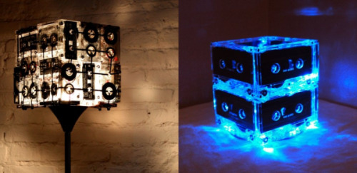 Recycled cassette tape lamps… Follow us on Tumblr/ more on recycling