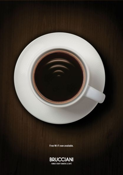"Free Wi-Fi Gràfica com les que a mi m'agraden: de línies simples, amb pocs elements però que transmeten el missatge de forma clara, potent i enginyosa. Fem un cafè mentre escrivim en el bloc? ""Free Wi-Fi now available."" Advertising Agency: Big Communications, London, United Kingdom Executive Creative Director: Dylan Bogg Creative Director: Billy Mawhinney Art Director: Ed Bentinck Copywriter: Josh Pearce Group Head: Tim Jones, James Cross Designer: Duncan Bancroft, Simon Dilks"
