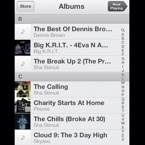Part of my current rotation in my phone. Currently rocking out to Drifter by Dennis Brown. #dennisbrown #reggae #bestof #classic #bigkrit #shastimuli #thebreakup2 #thecalling #charitystartsathome #phonte #tigallo #thechills #brokeat30 #therenttapeseries #skyzoo  #music #goodmusic #playlist #hiphop #screenshot  #pictureoftheday #igers  #iphoneography #instagood #instamood #iphonesia #ignation #igaddict #igdaily  #insta (Taken with Instagram)