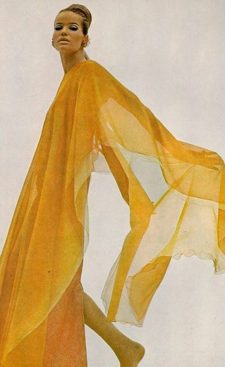 theswinginsixties:  Veruschka wearing a silk chiffon poncho by Stavropoulos for Vogue US, 1966. Photo by Bert Stern.
