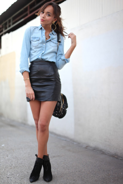 Topshop shirt, American Apparel skirt, Zara boots, Alexander Wang bag, ASOS earrings [source: ringmybell]