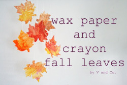 littlecraziness:  (via V and Co.: how to: wax paper and crayon fall leaves)