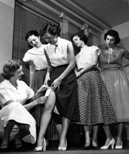 Testing nylon on humans, circa 1940s  At DuPont's Haskell Laboratory, small pieces of nylon were taped to legs or arms of hundreds of paid volunteers like those above. Patches were left on for one week, then removed for ten days and again applied. Final test of nylons purity came with wear tests of history by 5,000 women.   Click to see more images from our DuPont Product Information collection.