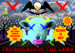 In the food industry silence is holy. The silence of the lamb - 2012 - Computer generated picture See the works featured on www.revolutionartmagazine.com just reading it online or downloading it (Animal - #38) or see the works on Behance on http://www.behance.net/gallery/MEET-OUR-MEAT/5372041