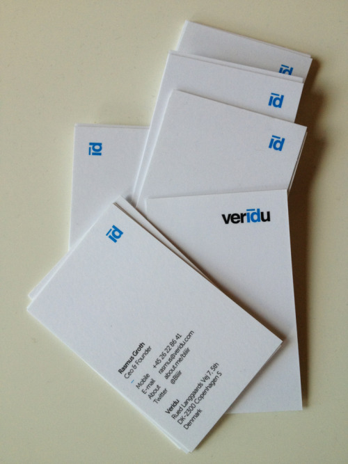 Nice new cards for danish internet startup VERIDU