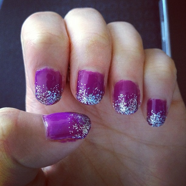 Ombre glitter nails (Taken with Instagram)