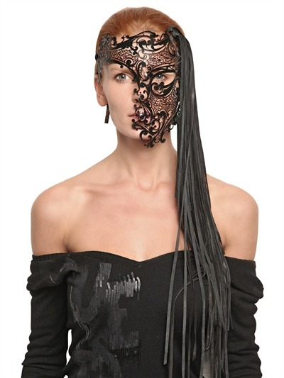 ghoulnextdoor:  Friday Fripperies  BARBARA BONER VENETIAN MASK  LUISAVIAROMA  VENETIAN MASK WITH LEATHER FRINGES € 436.34