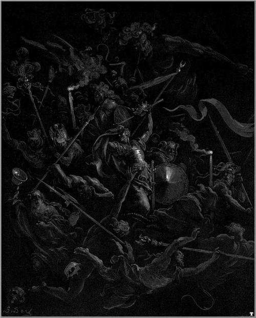 Gustave Doré - Paradise Lost - Chaos watches as the Rebel Angels are thrown into Hell