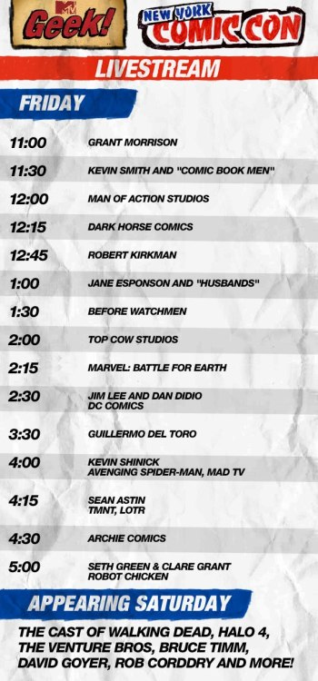 Sneak a peek at today's MTV Geek New York Comic Con livestream schedule!