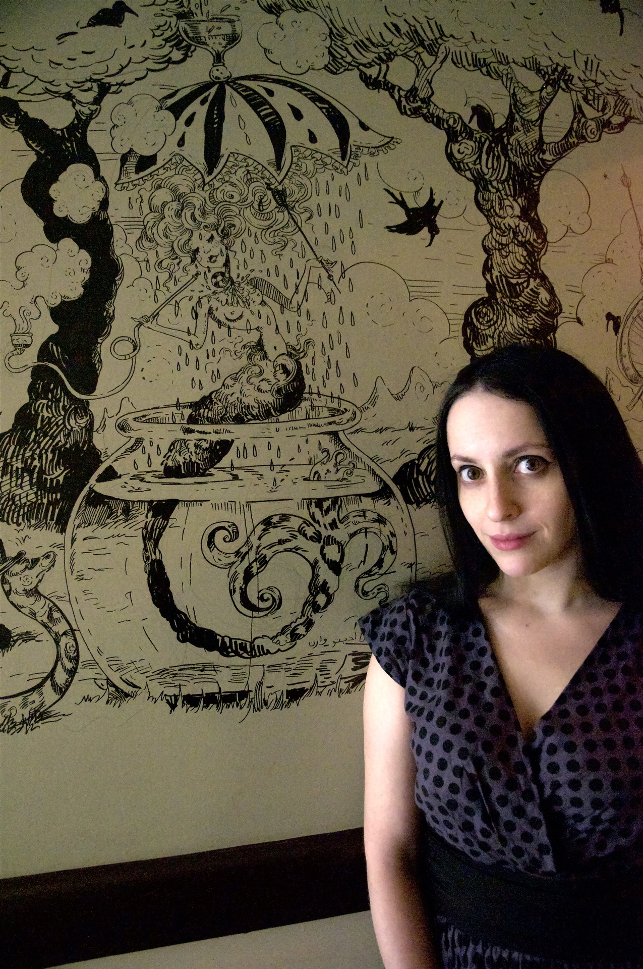 mollycrabapple:  Me with a bit of the mural. Photo by Neil Williams Edit:  Yes, am available for mural commissions.