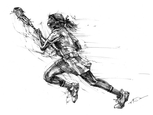 """Full Tilt-Female 2"" 8.5x11.5 inches.  Pen & ink on heavy drawing paper. Now available for purchase at The Art of Lax™. LIKE on Facebook. FOLLOW @TheArtofLax."