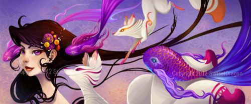 My latest illustrative work! Inspired by Oni, Kitsune and Japan <3This image will be produced on some brand new products! Keep an eye out for announcements-they will be very limited when they first come out!Be sure to like my facebook page to stay up to date! http://www.facebook.com/sunsetdragoncom
