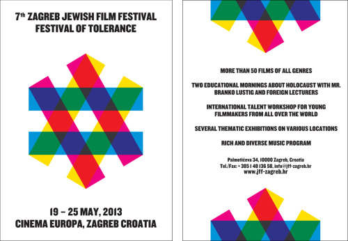 "Image of the Day: The logo and posters for the 7th Jewish Film Festival in Zagreb, on the theme ""Equality."" Logo design/art direction by Mirko Ilić, poster design and application by Sanja Kuzmanovic."