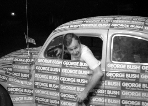 Campaigning in the Seventies George Bush at a hamburger fry in Marshall, TX, during the 1970 Senate Race. 7/17/70.