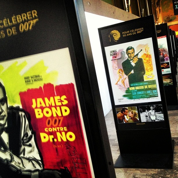 In honour of #JamesBond50 - little exhibition of movie posters in the ticket hall of #GareDeLyon #Paris #SNCF #MyParis #Instagram #instagrammers #Photo #phonography #Iphone #trainstation  (Taken with Instagram)