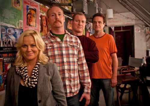 ucbcomedy:  The UCB 4 (l-r) Upright Citizens Brigade: Amy Poehler, Matt Walsh, Ian Roberts, Matt Besser © Liezl Estipona  Heroes.