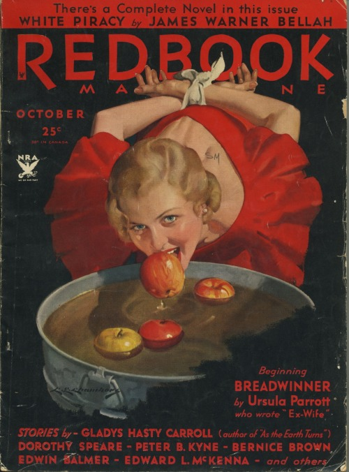 Time for my annual posting of the bondage Bobbing for Apples Redbook cover from 1933. It's a holiday tradition around these parts.