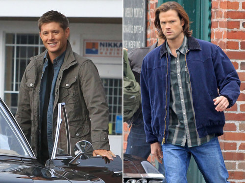 Jensen Ackles and Jared Padalecki back on the set of Supernatural.