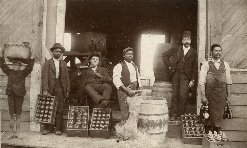 1870's view of workers at the Atlanta City Brewing Company at the corner of Courtland (then Collins) and Harris Streets. Browse and order prints from our collection.