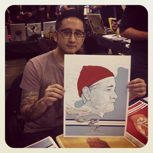 Randy Ortiz signing his Wes Anderson print sets at Spoke Art, booth #3220! Three prints for $50, only 50 sets made!  #nycc #newyorkcomiccon #randyortiz #wesanderson #thelifeaquatic #billmurray  (Taken with Instagram)