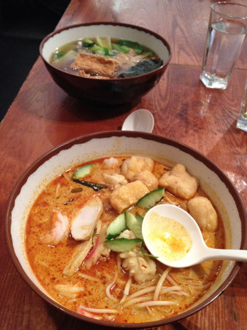 Curry Laksa at The HAre and Tortoise 1-13 The Brunswick. This is a very good and very reasonably priced restaurant, with generous portions, super quick service and a large selection of delicious japanese dishes. The only trouble is that it's so good that theres sometimes a bit of a queue. However it is definitely worth the wait. This enormous bowl of coconut noodle soup cost just over £7 and was a perfect balance of creamy and spicy and absolutely loaded with chicken, prawns, tofu, squid and noodles. A wonderfully satisfying lunch on a day when I really really needed one.