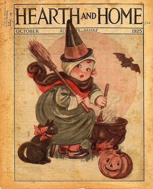 maudelynn:  Adorable October 1925 cover of Hearth and Home via http://witchofstitches.blogspot.com