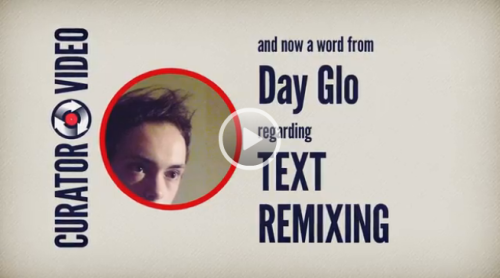 "LET'S REMIX SOME TEXT ON hitRECord! Day Glo, our Text Curator, has a few words regarding how the community can Remix Text Records on the site in THIS VIDEO. == WRITERS & TEXT REMIXERS: You could browse hitRECord & turn a poem into a story, or a story into a screenplay, or an abstract stream of consciousness monologue into… something else! You can even branch out into the Public Domain for text resources to remix, like Metaphorest did with the text for our short film ""Jelly Babies""."