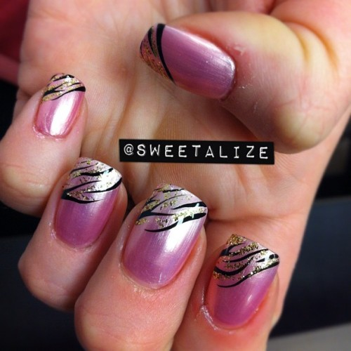 China Glaze's Exceptionally Gifted with zebra/gold tips on acrylic nails #zebra #zebrastripes #zebraprint #animalprint #pink #exceptionallygifted #chinaglaze #gelnails #acrylcnails  (Taken with Instagram)
