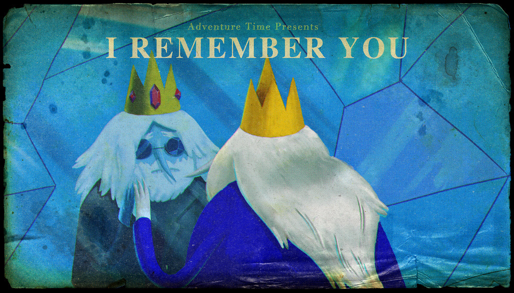 "adventuretime:  And I've got a WAY tortured past ""I Remember You,"" originally called ""Help,"" premieres Monday night on Cartoon Network. Michelle Xin designed the title card. The episode was storyboarded by Rebecca Sugar & Cole Sanchez and features Ice King & Marceline (or is it the other way around?)."